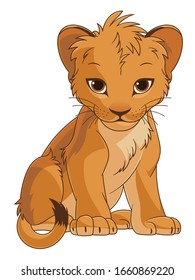 Cartoon lion cub on the white background. Vector illustration.