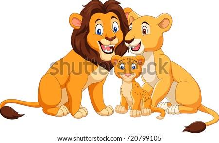 cartoon lion family isolated on white のベクター画像素材