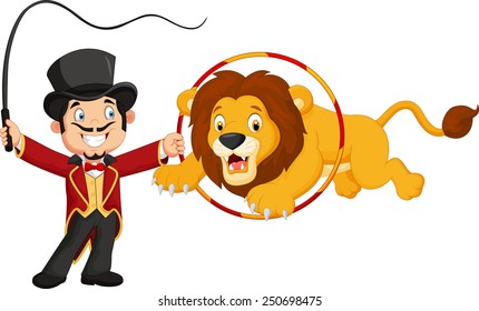 Cartoon lion jumping through ring