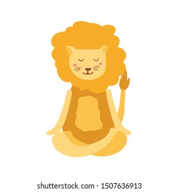 Cartoon lion performing yoga exercise. Scandinavian character sitting in lotus posture and meditating vipassana meditation Isolated.For children and print screening. Colourful flat vector illustration