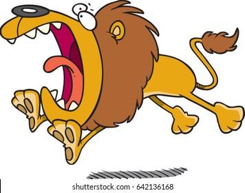 cartoon lion pouncing