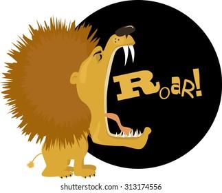 Cartoon lion roaring, vector illustration, no transparencies, EPS 8