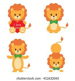 cartoon lion set