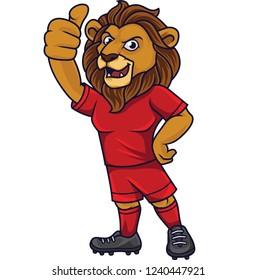 Cartoon lion soccer mascot showing thumb up