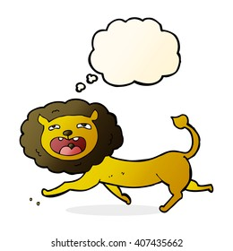 cartoon lion with thought bubble