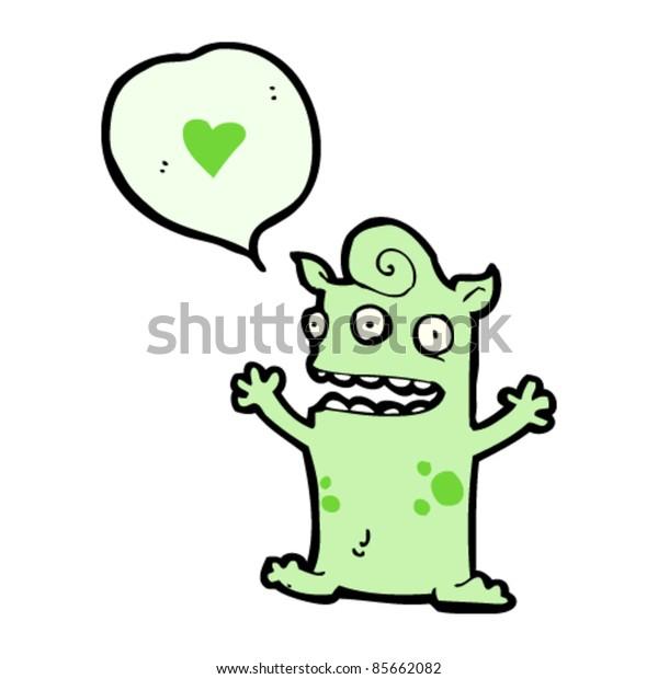 cartoon little alien in love
