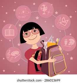 Cartoon little Asian girl with a backpack, filled with school supplies, school subjects on the background, vector illustration, no transparencies, EPS 8