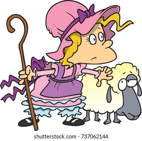cartoon little bo peep and her sheep