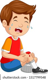 Cartoon little boy crying with scraped knee