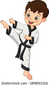 Cartoon little boy practicing karate