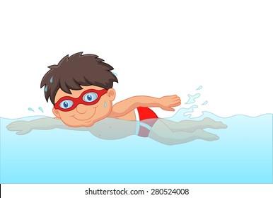 Cartoon little boy swimmer in the swimming pool