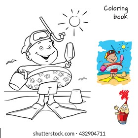 Cartoon Little boy with swimming circle, flippers and mask on the beach. Coloring book. Vector illustration