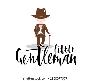 Cartoon little boy wearing suit and black top hat with hand lettering Little Gentleman. dressed up in classic retro style vector Illustration. With red bow tie.  template of logo for clothes shop