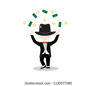 Cartoon little boy wearing suit and black top hat, young gentleman dressed up in classic retro style vector Illustration. With red bow tie. Isolated. With money.