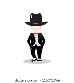 Cartoon little boy wearing suit and black top hat, young gentleman dressed up in classic retro style vector Illustration. With red bow tie. Isolated.
