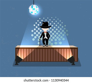 Cartoon little boy wearing suit and black top hat on scene on abstract background, young gentleman dressed up in classic retro style vector Illustration. With red bow tie. Isolated.