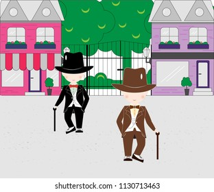 Cartoon little boys with cane stick wearing suit and top hats on against the background of the city. young gentlemans dressed up in classic retro style vector Illustration. With bow tie.
