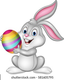 Cartoon little bunny holding Easter egg