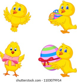 Cartoon little chick with Easter egg