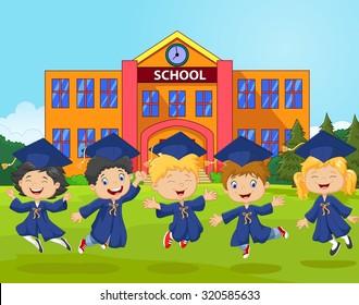 Cartoon little children celebrate their graduation with school background