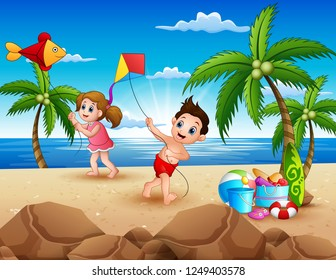 Cartoon of little children playing with kites on the beach