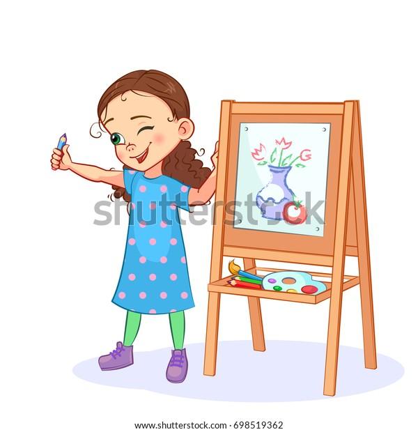 Image Vectorielle De Stock De La Petite Fille Au Dessin