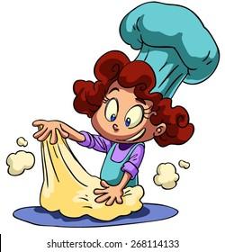 cartoon little girl kneading dough