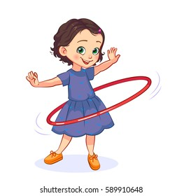 Cartoon little girl spins the hula hoop around the waist. Children's active games vector illustration.