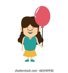 cartoon little girl young holding balloon