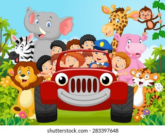 Cartoon little kid happy with animal. vector illustration