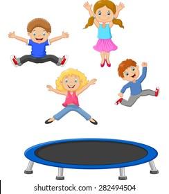 Cartoon little kid playing trampoline