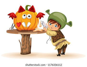 Cartoon little kid preparing for All Hallows Eve poster. Cheerful child dressed in costume of shrek making Halloween pumpkin vector illustration. Horror party concept.