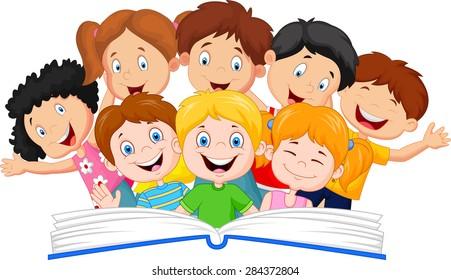 Cartoon little kid reading book funny