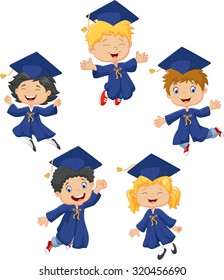 Cartoon little kids celebrate their graduation on isolated background