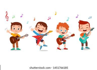 Cartoon little kids playing music