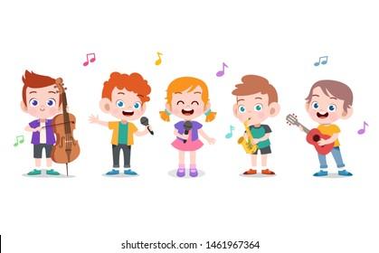 Cartoon little kids playing music vector