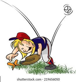 A cartoon little league baseball outfielder playing with a bug. Layered vector file available. Bugged Outfielder