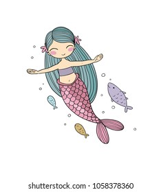 Cartoon little mermaid and fish . Siren. Sea theme. vector illustration on a white background.