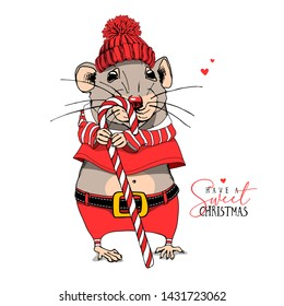 Cartoon Little Mouse in a red Santa's costume, knitted winter hat and with a lollipop. Have a sweet Christmas – lettering quote. New Year card, t-shirt composition, handmade vector illustration.