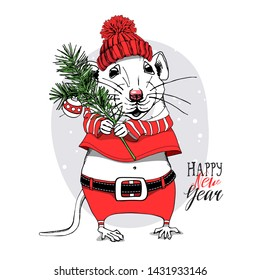 Cartoon Little Mouse in a red Santa's costume, knitted winter hat and with a fir tree branch. Christmas and New Year card, t-shirt composition, handmade vector illustration.