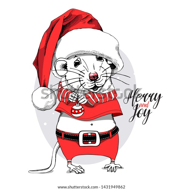 Cartoon Little Mouse in a red Santa's costume, big cap and with a decor for fir tree. Merry and joy – lettering quote. Christmas and New Year card, handmade vector illustration.