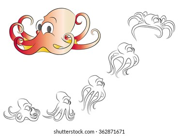 cartoon little octopus, with frame animation