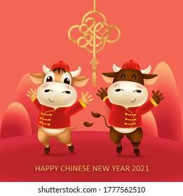 Cartoon der kleinen oxen Persönlichkeit mit rotem chinesischen traditionellen Tracht.Zodiac Symbol des Jahres 2021.Chinesisches Neujahr, das Jahr des Ochsen.