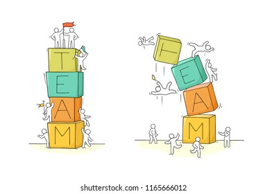 Cartoon little people with word Team. Hand drawn scene about cooperation. Vector isolated on white background.
