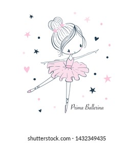 Cartoon little Prima Ballerina. Simple linear isolated vector graphic on a white background. Fashion illustration for kids clothing. Use for print, surface design, fashion wear