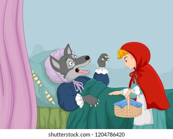 Cartoon little red riding hood and wolf