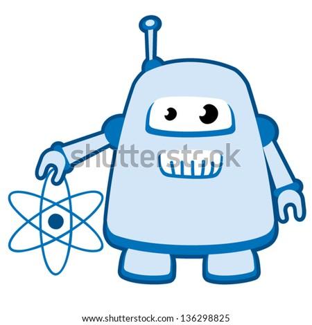 Cartoon Little Robot Toy Atom Sign Vector De Stock Libre De