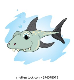 Cartoon little toothy shark.
