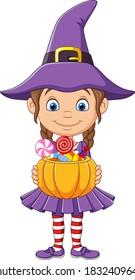 Cartoon little witch girl holds a pumpkin basket with Candies