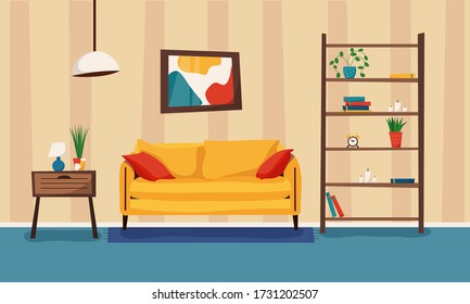 Cartoon living room with furniture and plants. Cozy interior with sofa, bookcase and nightstand. Flat style vector illustration.